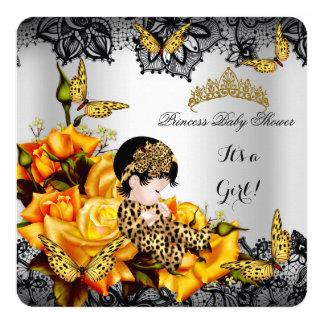 """Leopard Baby Shower Girl Butterfly Yellow Gray 5.25"""" Square Invitation Card"""