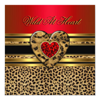"Leopard Birthday Wild At Heart Black Gold Red 2 5.25"" Square Invitation Card"