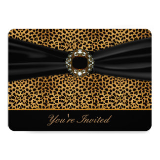 Leopard Black All Occasion Invitation Template