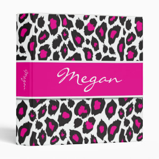 Leopard Black and Hot Pink Binder 1 inch