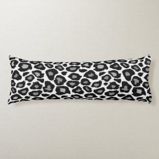 Leopard - Black and White Body Pillow