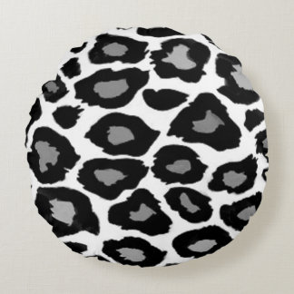 Leopard- Black and White Round Pillow