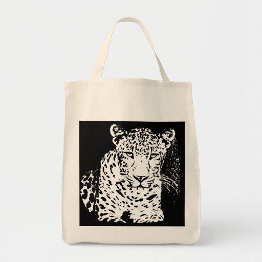 Leopard Black And White Portrait Bags