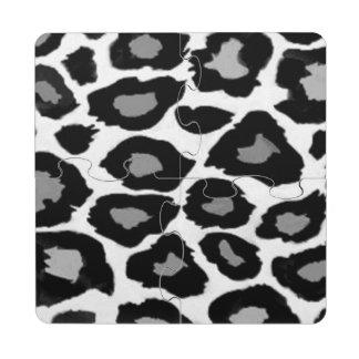 Leopard - Black and White Puzzle Coaster