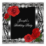 Leopard Black Birthday Red Rose Flowers Any Age Invitations