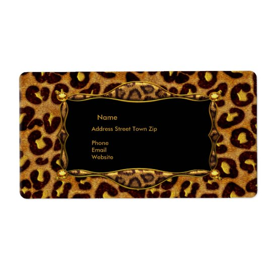 Leopard Black Gold Label Address Shipping Label