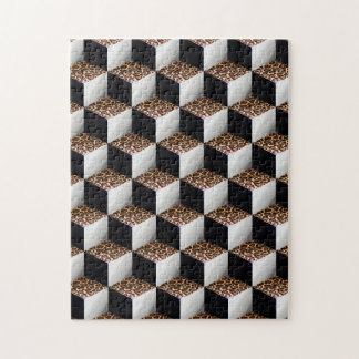 Leopard Black White Shaded 3D Look Cubes Jigsaw Puzzle