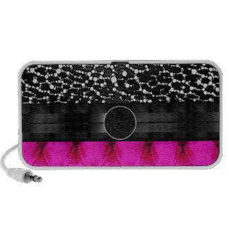 Leopard Bling Pink Cushion Monogram Portable Speaker