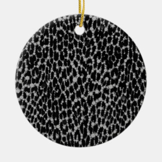 Leopard Blk/White Double-Sided Ceramic Round Christmas Ornament