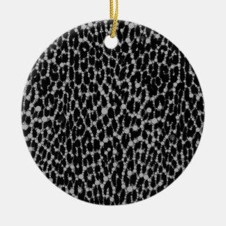 Leopard Blk/White Round Ceramic Ornament