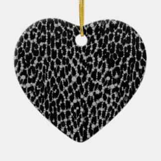 Leopard Blk/White Ceramic Heart Ornament