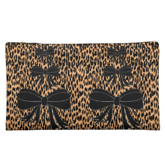 leopard bow girls cosmetic bag