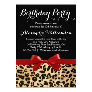 """Leopard Bright Red Bow Girl's Birthday Party 4.5"""" X 6.25"""" Invitation Card"""