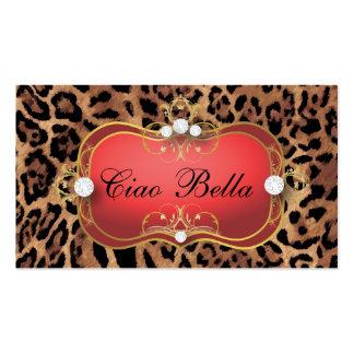 Léopard bronzage noir rouge de Ciao Bella de 311 Carte De Visite Standard