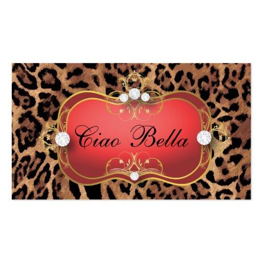 Léopard bronzage noir rouge de Ciao Bella de 311 j Carte De Visite
