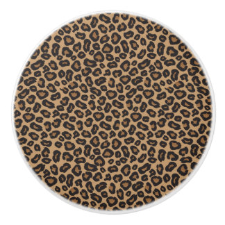 Leopard Brown and Black Pattern Ceramic Knob