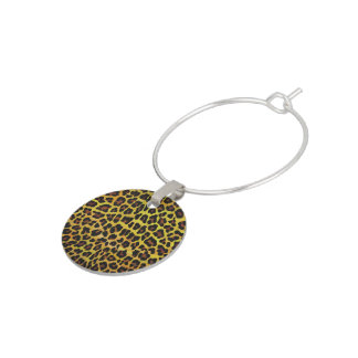 Leopard Brown and Yellow Print Wine Charm