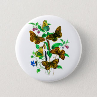 Leopard Butterflies and Red Raspberries 2 Inch Round Button