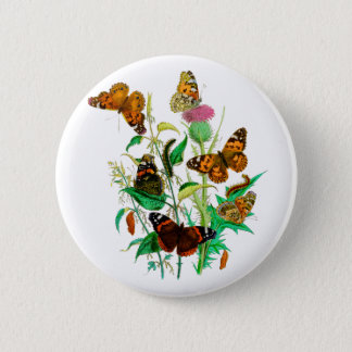 Leopard Butterflies & Caterpillars & Pink Thistle 2 Inch Round Button