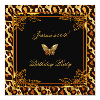 """Leopard Butterfly Old Gold Black Birthday Party 5.25"""" Square Invitation Card"""