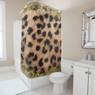 Leopard Cheetah Animal Print Gold Glitter Modern