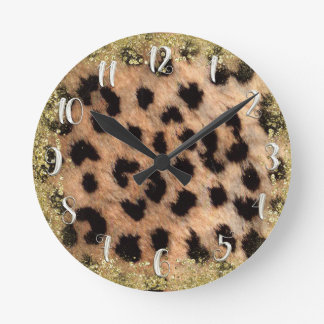 Leopard Cheetah Animal Print Gold Glitter Modern Round Clock