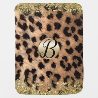 Leopard Cheetah Animal Print Gold Glitter Monogram Baby Blanket