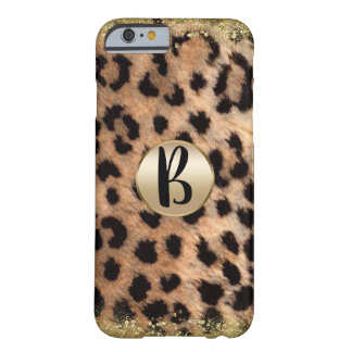 Leopard Cheetah Animal Print Gold Glitter Monogram Barely There iPhone 6 Case