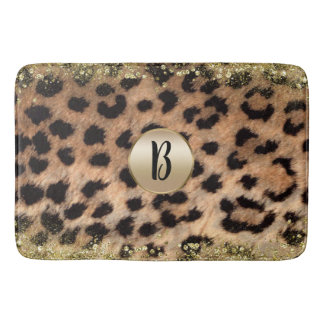 Leopard Cheetah Animal Print Gold Glitter Monogram Bath Mat