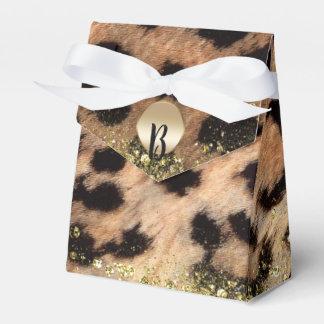 Leopard Cheetah Animal Print Gold Glitter Monogram Favor Box
