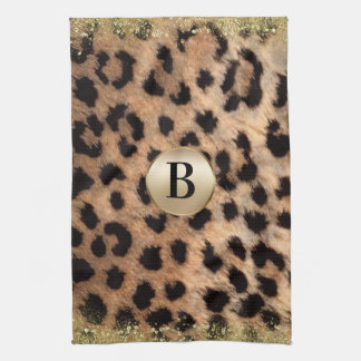 Leopard Cheetah Animal Print Gold Glitter Monogram Kitchen Towel