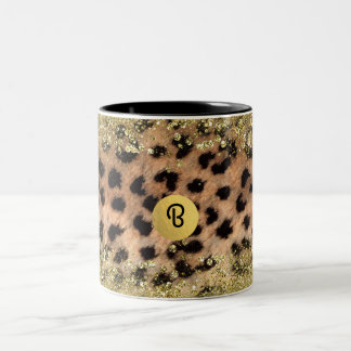 Leopard Cheetah Animal Print Gold Glitter Monogram Two-Tone Coffee Mug