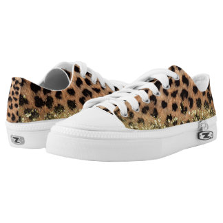 Leopard Cheetah Animal Print Gold Glitter Trendy Low-Top Sneakers