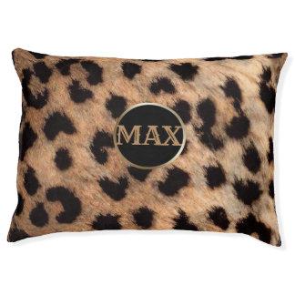 Leopard Cheetah Animal Print Monogram Personalized Pet Bed