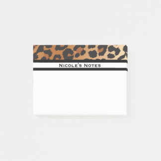 Leopard Cheetah Animal Print Trendy Personalized Post-it Notes