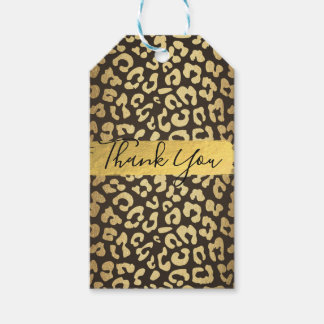 Leopard Cheetah Animal Skin Print Gold Favor Gift Tags