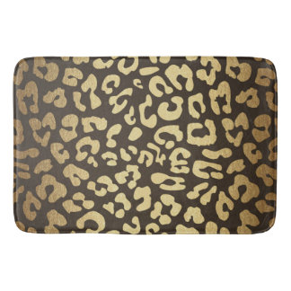 Leopard Cheetah Animal Skin Print Modern Glam Gold Bath Mat