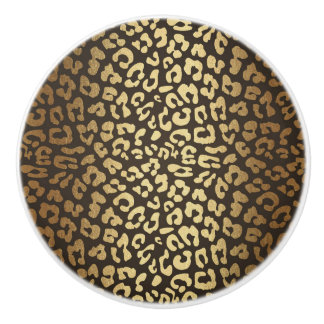 Leopard Cheetah Animal Skin Print Modern Glam Gold Ceramic Knob