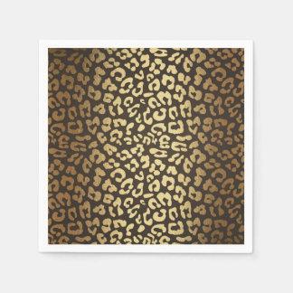 Leopard Cheetah Animal Skin Print Modern Glam Gold Disposable Napkins