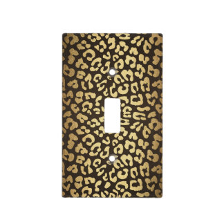 Leopard Cheetah Animal Skin Print Modern Glam Gold Light Switch Cover