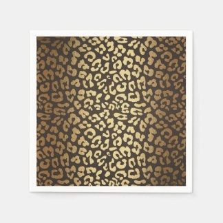 Leopard Cheetah Animal Skin Print Modern Glam Gold Paper Napkin