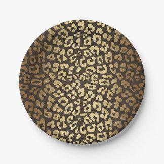 Leopard Cheetah Animal Skin Print Modern Glam Gold Paper Plate