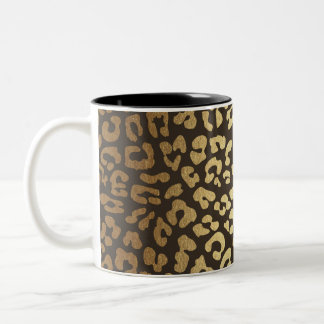 Leopard Cheetah Animal Skin Print Modern Glam Gold Two-Tone Coffee Mug