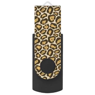 Leopard Cheetah Brown Animal Print Pattern Swivel USB 2.0 Flash Drive