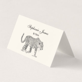 Leopard Cheetah Place Card Escort Card Ivory