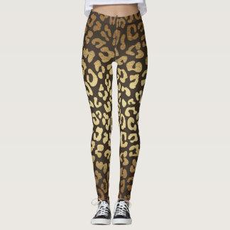Leopard Cheetah Print Animal Skins Gold Ombre Leggings