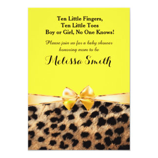 Leopard Cheetah Print Bright Yellow Bow Invitation