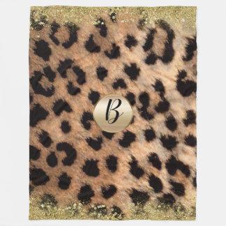 Leopard Cheetah Print Gold Glitter Glam Monogram Fleece Blanket