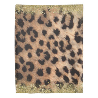 Leopard Cheetah Print Gold Glitter Trendy Girly Duvet Cover