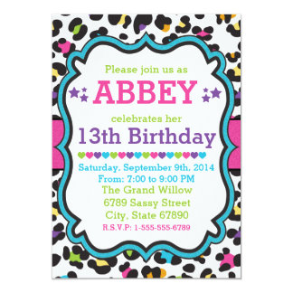 Leopard Cheetah Print Invitation Birthday